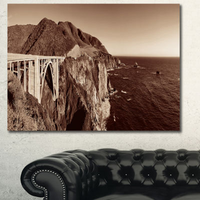 Designart Bixby Bridge View Panorama Landscape Canvas Art Print