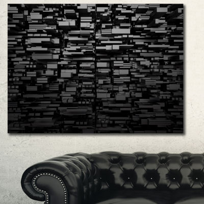 Designart Black 3D Geometric Background Abstract Canvas Art Print