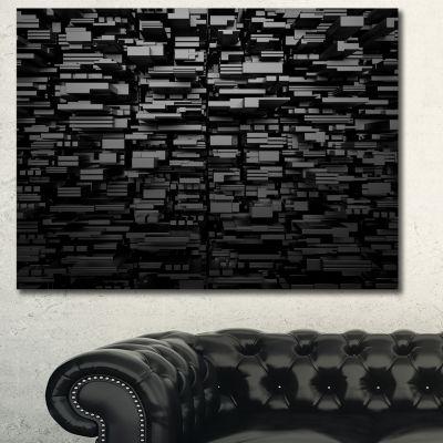 Designart Black 3D Geometric Background AbstractCanvas Art Print - 3 Panels