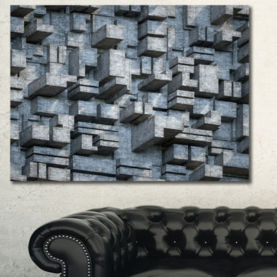 Designart Black Abstract Geometric Background Abstract Canvas Wall Art