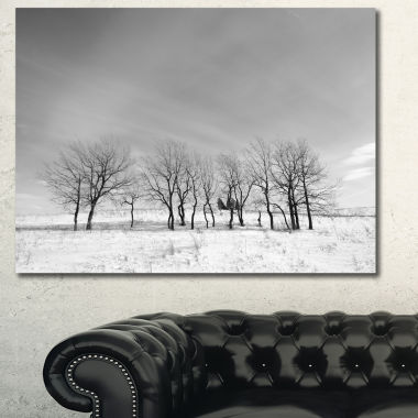 Designart Black And White Trees In Winter Landscape Canvas Art Print