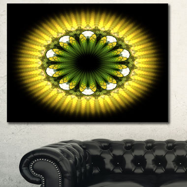 Designart Black Yellow Fractal Flower Pattern Abstract Canvas Art Print