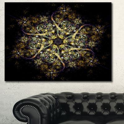 Designart Black Yellow Fractal Flower Pattern Abstract Canvas Art Print - 3 Panels