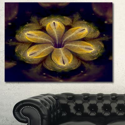 Designart Black Yellow Fractal Flower Pattern Contemporary Canvas Art Print