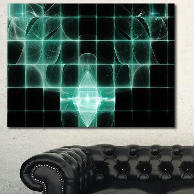 Designart Blue Bat On Rader Screen Abstract CanvasArt Print - 3 Panels