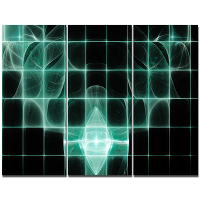 Designart Blue Bat On Rader Screen Abstract CanvasArt Print - 3 Panels