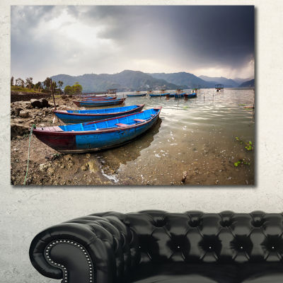 Design Art Blue Boats In Pokhara Lake Boat CanvasArt Print - 3 Panels