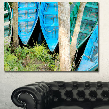 Designart Blue Boats On Lake Phewa Boat Canvas ArtPrint