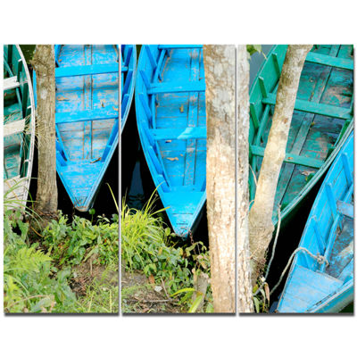 Designart Blue Boats On Lake Phewa Boat Canvas ArtPrint - 3 Panels