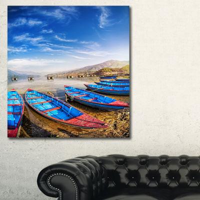 Designart Blue Boats Under Blue Sky Boat Canvas Art Print 28X36 3 Panels