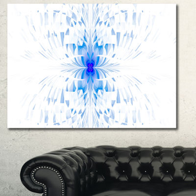 Designart Blue Butterfly Outline On White AbstractCanvas Art Print
