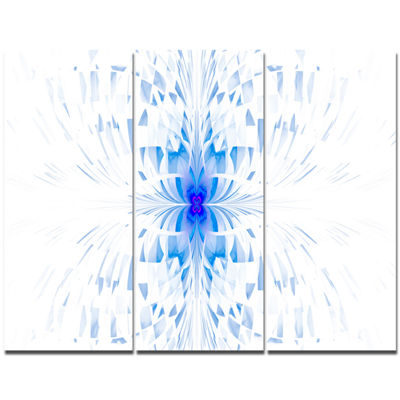 Designart Blue Butterfly Outline On White AbstractCanvas Art Print - 3 Panels