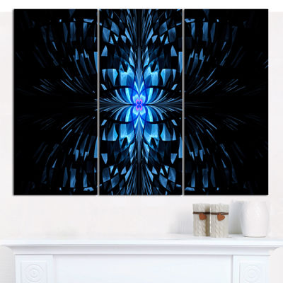 Designart Blue Butterfly Pattern On Black AbstractArt On Canvas - 3 Panels