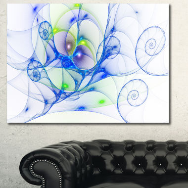 Designart Blue Colored Curly Spiral Abstract Canvas Art Print