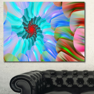 Designart Blue Colored Stain Glass With Spirals Floral Canvas Art Print
