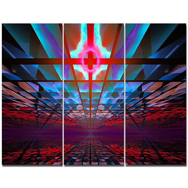 Design Art Blue Cosmic Horizons Apocalypse AbstractArt On Canvas - 3 Panels