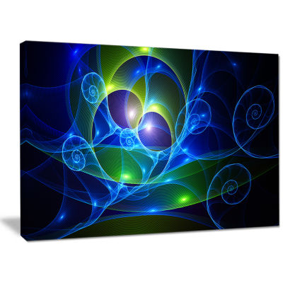 Designart Blue Curly Spiral On Black Abstract Canvas Art Print