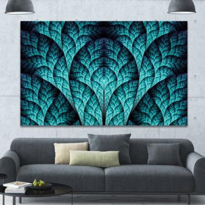 Designart Blue Exotic Biological Organism AbstractCanvas Art Print