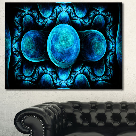 Designart Blue Exotic Pattern On Black Abstract Art On Canvas