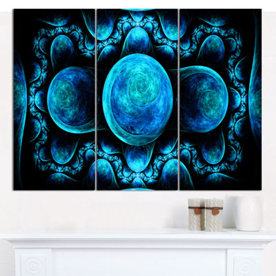 Designart Blue Exotic Pattern On Black Abstract Art On Canvas - 3 Panels