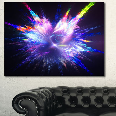 Designart Blue Explosion Of Paint Drops Floral Canvas Art Print - 3 Panels