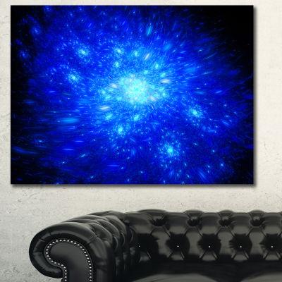 Designart Blue Fireworks On Black Abstract Art OnCanvas