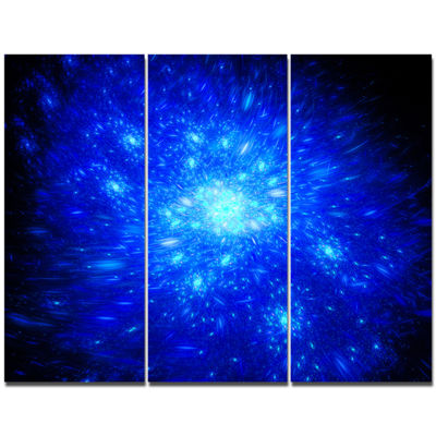 Designart Blue Fireworks On Black Abstract Art OnCanvas - 3 Panels