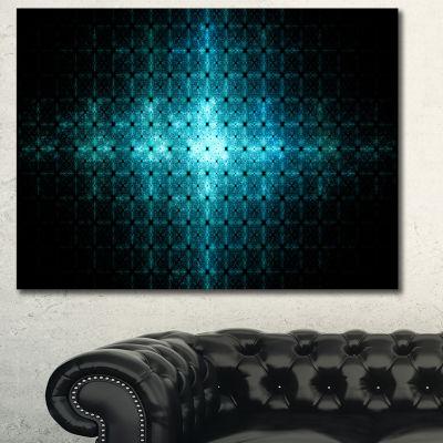 Designart Blue Flash Of Light On Radar Abstract Canvas Art Print - 3 Panels