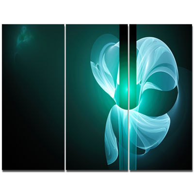Designart Blue Flower Fractal Illustration Abstract Canvas Art Print - 3 Panels