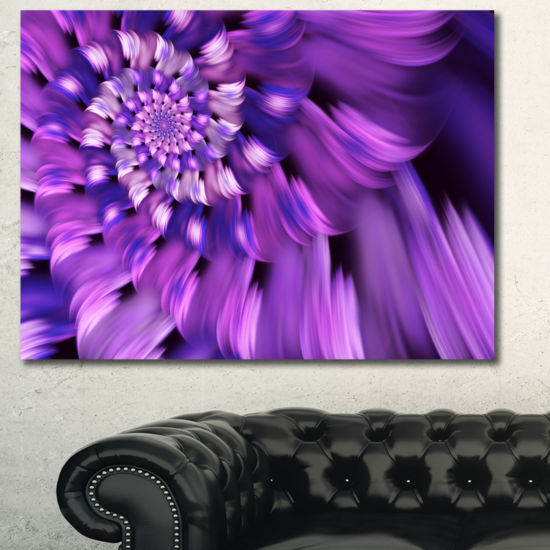 Designart Blue Flower Shaped Fractal Art Floral Canvas Art Print