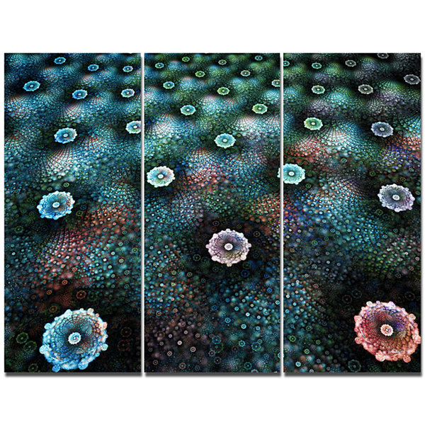 Designart Blue Flowers On Alien Planet Floral Canvas Art Print - 3 Panels