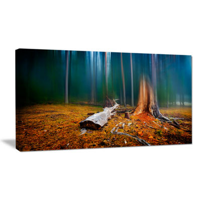 Designart Blue Forest On Foggy Morning Landscape Canvas Art Print