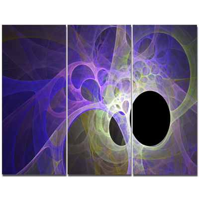 Designart Blue Fractal Angel Wings Abstract CanvasArt Print - 3 Panels