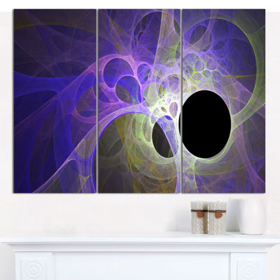 Design Art Blue Fractal Angel Wings Abstract CanvasArt Print - 3 Panels