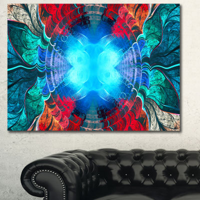 Designart Blue Fractal Circles And Waves AbstractCanvas Art Print
