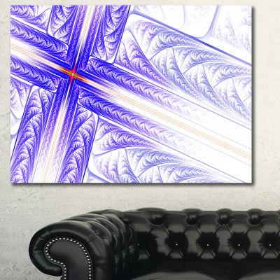 Designart Blue Fractal Cross Design Abstract Canvas Art Print - 3 Panels