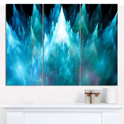 Designart Blue Fractal Crystals Design Abstract Canvas Art Print - 3 Panels