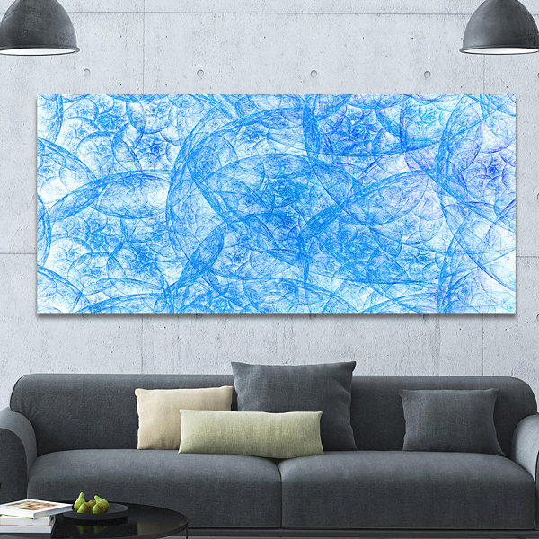 Designart Blue Fractal Dramatic Clouds Abstract Canvas Art Print