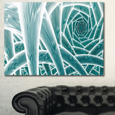 Designart Blue Fractal Endless Tunnel Abstract Canvas Art Print