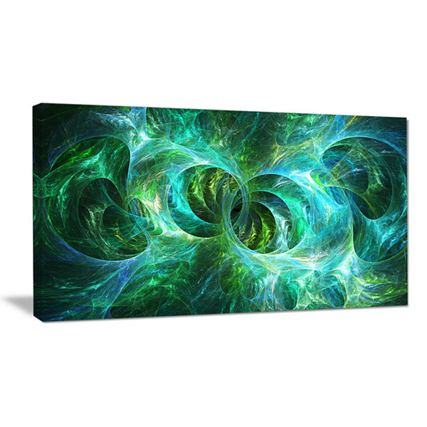 Designart Blue Fractal Ornamental Glass Abstract Canvas Art Print