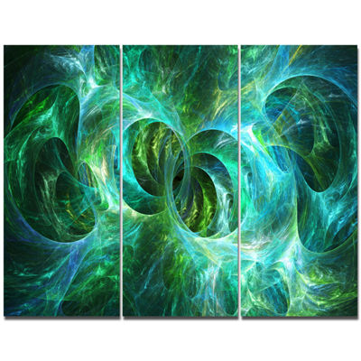 Designart Blue Fractal Ornamental Glass AbstractCanvas Art Print - 3 Panels