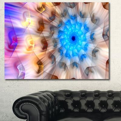 Designart Blue Fractal Petals Dandelion Floral Canvas Art Print - 3 Panels