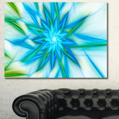 Designart Blue Fractal Shining Bright Star Abstract Canvas Art Print