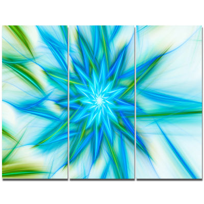Design Art Blue Fractal Shining Bright Star Abstract Canvas Art Print - 3 Panels