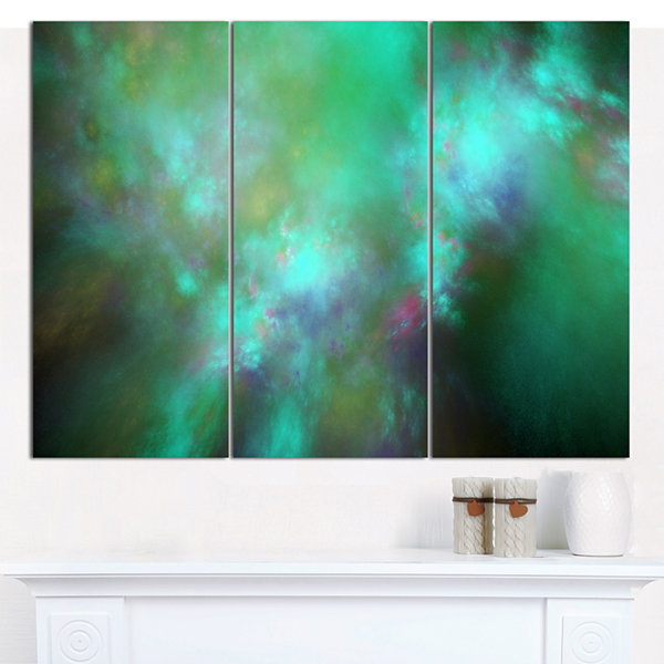 Designart Blue Fractal Sky With Blur Stars Abstract Canvas Art Print - 3 Panels