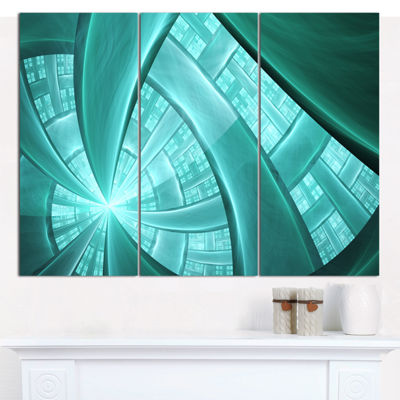 Designart Blue Fractal Stained Glass Abstract Canvas Art Print - 3 Panels
