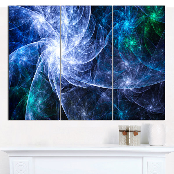 Designart Blue Fractal Star Pattern Abstract Canvas Art Print - 3 Panels
