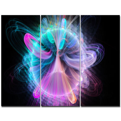 Designart Blue Fractal Vortices Of Energy FloralCanvas Art Print - 3 Panels