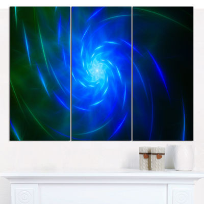 Designart Blue Fractal Whirlpool Design AbstractCanvas Art Print - 3 Panels