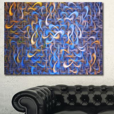 Designart Blue Golden Watercolor Fractal Art Abstract Art On Canvas - 3 Panels